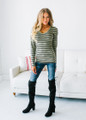 Must Have Striped V-Neck Layering Tunic Top Olive/Black