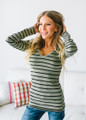 (Cyber Monday) Must Have Striped V-Neck Layering Tunic Top Olive/Black