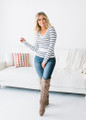 Must Have Striped V-Neck Layering Tunic Top White