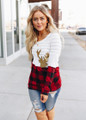 Check This Out Sequins and Striped Deer Top Ivory