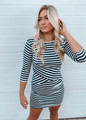 Super Soft Asymmetrical Striped Dress Navy