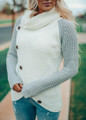 Button Asymmetrical Thermal Waffle Two Toned Sweater Top