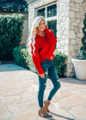 Keep Me Distressed Knit Sweater Red