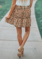 Because You're Mine Leopard Ruffle Skirt Taupe