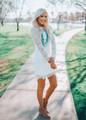 Ruffle Puff Bottom Scalloped Lace Crochet Dress White