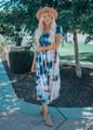 Time Keeps Tickin' Tie Dye Dress Blue