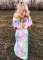 Off Shoulder Pastel Ruffle Tie Dye Maxi Purple/Pink CLEARANCE