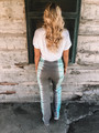 Tie Dye Fold Over Pants Mint/Grey CLEARANCE