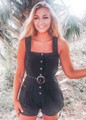 Stay Together Button Up Belted Shorts Romper Black