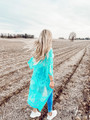 Don't Make Me Wait Crochet Lace Long Cardigan Emerald/Mint