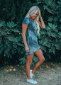 Tie Dye Shirred Ruched High Low Dress Blue/Charcoal