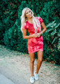 Tie Dye Shirred Ruched High Low Dress Ruby