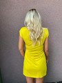 Lovely & Simple Crew Neck Detailed Tie Knot Dress Yellow