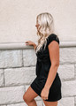 Lovely & Simple Crew Neck Detailed Tie Knot Dress Black