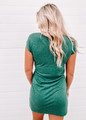 Lovely & Simple Crew Neck Detailed Tie Knot Dress Green