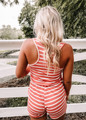 Something I Can Hold On To Striped Short Romper Coral