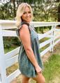 Scalloped Hem Eyelet Lace Romper/Dress Deep Green