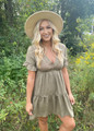 Time Together Ruffle Tunic Dress Olive