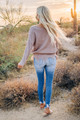 Cozy Up To Me Frayed Knit Sweater Taupe/Grey