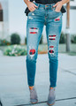 Fall Plaid Checkered Patch Destroyed Skinny Jeans