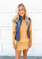 Tight Fitting Striped Long Sleeve Dress Mustard