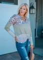 Leopard Criss Cross Colorblock Striped Top Olive CLEARANCE