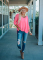 Luxe Slouchy and Lightweight Tunic Top Ultra Pink