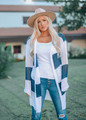 Striped Open Knit Cardigan Navy/Ivory