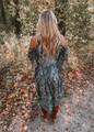 High Low Feather Print Sheer Kimono Dark Green