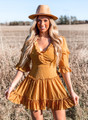 Criss Cross Back Crinkled Belle Sleeve Dress Mustard