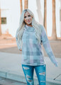 Something Real Plaid Button Cowl Neck Tunic Pink/Taupe