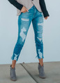 Heavy Destroyed Cello Ankle Cutout Skinny Jeans