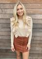 Mini Corduroy Button Front Pocket Skirt Rust
