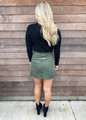 Mini Corduroy Button Front Pocket Skirt Olive