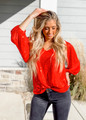 Time To Shine Balloon Sleeve Sequins Top Red