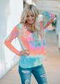 Pastel Tie Dye Sequins Trim Pocket Top