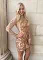 Amazing Sequins Stretch Dress Rose Gold CLEARANCE