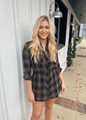 Very Flattering Classic Plaid Belted Shirt Dress Olive