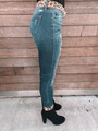 Mid Rise Leopard Patch Distressed Ankle Skinny Jeans