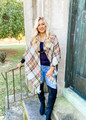 (Cyber Monday) Classic Flannel Toggle Closure Plaid Poncho Grey/Mustard