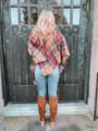 (Cyber Monday) Classic Flannel Toggle Closure Plaid Poncho Red/Khaki