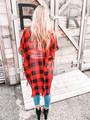 (Cyber Monday) Red and Black Buffalo Checkered Kimono