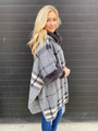 Amazing Plaid Faux Fur Lined Hooded Coat Poncho Grey