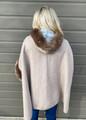 Color Block Faux Fur Hooded Coat Mocha/Grey