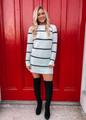 Cozy Striped Sweater Dress White/Black