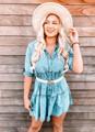Chambray Ruffle Tiered Denim Shirt Tunic/Dress