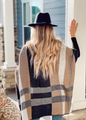 Very Chic Plaid Print Open Front Shawl Cardigan