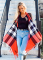 Plaid Pattern Fringed Open Vest Red