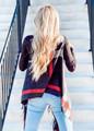 Plaid Pattern Fringed Open Vest Black