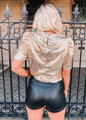 Sequins Pop Shoulder Top Gold